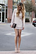 cream lace-up dress