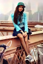 sky blue hat - sky blue jacket - navy skirt - sneakers