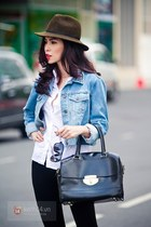 black bag - sky blue jeans - army green hat - white shirt - black pants
