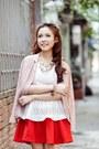 Light-pink-blazer-white-top-red-skirt