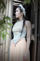 neutral long skirt skirt - black shoes - light blue top