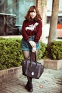 Black-shoes-crimson-sweater-black-bag-navy-shorts