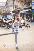 black hat - silver leggings - white top
