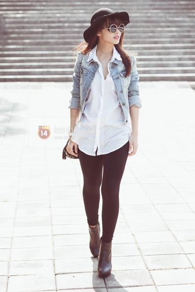 white shirts brown boots light blue black