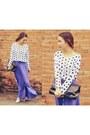 Brown-bag-light-purple-skirt-white-blouse