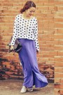 Brown-bag-light-purple-skirt-white-blouse