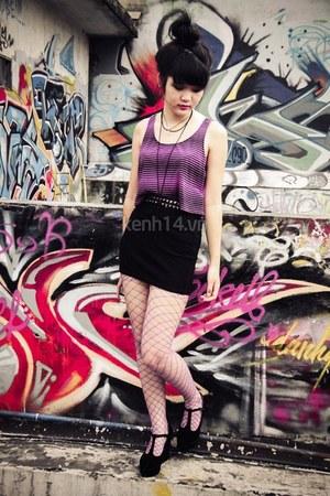 black shoes - amethyst tights - black skirt - amethyst top