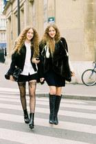 black boots - black blazer - white shirt - black skirt