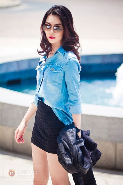 sky blue shirt - black jacket - black skirt