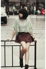 Black-shoes-lime-green-blouse-dark-brown-skirt