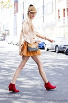 red boots - light orange skirt