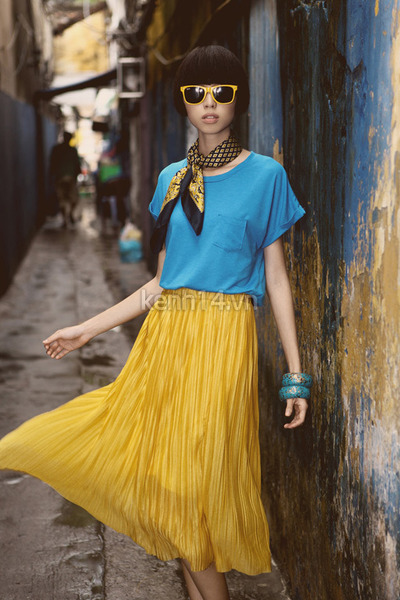 bracelet - black classic scarf - mustard pleated skirt skirt - sky blue blouse