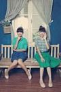 Turquoise-blue-blouse-blue-skirt-turquoise-blue-skirt