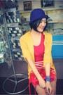 Red-dress-navy-hat-red-bag-gold-cardigan-light-blue-bracelet