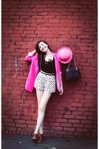 polka dot shorts - bubble gum hat - hot pink blazer - black top - pumps