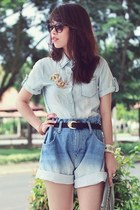 light blue denim shirt - sky blue denim shorts