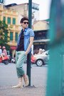 Bag-black-blouse-aquamarine-pants-blue-denim-t-shirt-sneakers
