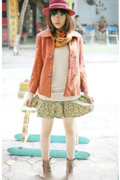 nude coat - bubble gum hat - lime green mini skirt skirt