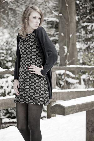 gray H&M dress - avanti cardigan