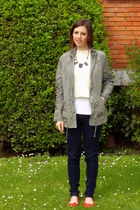 navy hollister jeans - army green Marlys jacket - ivory unknown brand sweater