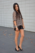 leather Target shorts - printed Walmart blouse