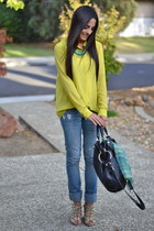 lime green chiffon Forever 21 blouse - black Oryanny bag
