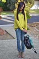 lime green chiffon Forever 21 blouse - black Oryanny bag