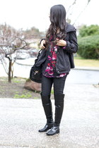 maroon floral Target blouse - black over the knee franco sarto boots