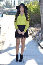 black lace edge Forever 21 skirt - lime green chiffon Forever 21 blouse
