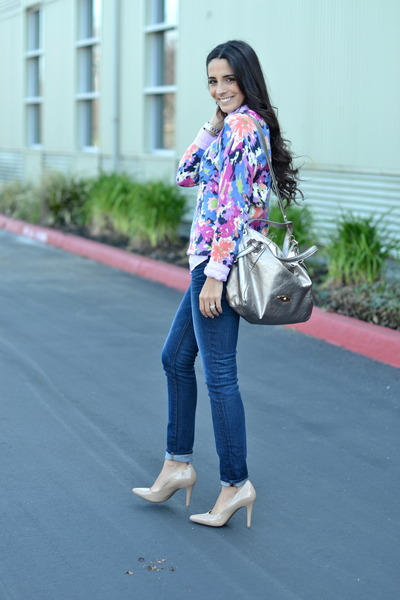 amethyst floral Forever 21 sweater - navy cuffed J Brand jeans