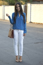 silk Equipment blouse - CurrentElliott jeans - vintage Chanel bag