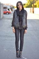 heather gray fur Forever 21 vest - black Jessica Simpson boots