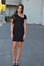 black catherine malandrino dress - charcoal gray t-strap BCBGeneration sandals