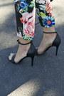 Black-strappy-target-sandals-turquoise-blue-floral-trouser-hm-pants
