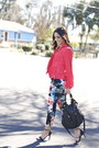 Black-strappy-target-sandals-turquoise-blue-floral-trouser-hm-pants