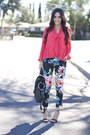 Coral-chiffon-peplum-forever-21-blouse-turquoise-blue-floral-trouser-hm-pants