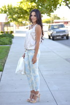 floral CurrentElliott jeans - cream unknown blazer - strappy unknown sandals