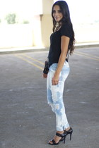 destroyed jeans CurrentElliott jeans - strapped heels BCBG sandals