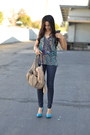 Violet-joie-blouse-navy-wax-coated-j-brand-jeans-tan-chain-accent-hype-bag