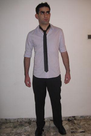 purple renuar blouse - black renuar pants - black renuar tie - black Trak shoes
