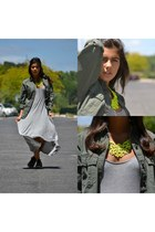 yellow Choies necklace - heather gray Zara dress - forest green Primark shirt