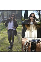black H&M boots - black H&M blazer - black Ray Ban sunglasses