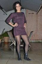 ruby red Zara dress - black millitary New Yorker boots
