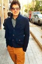 denim shirt Zara shirt - chino Zara pants - Zara cardigan - Zara glasses