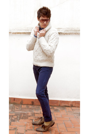 light brown Zara shoes - white wool Zara sweater - blue denim shirt Zara shirt
