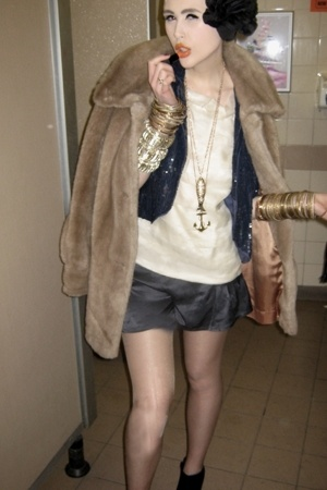 blue Topshop jacket - beige Charity coat - blue Topshop shorts