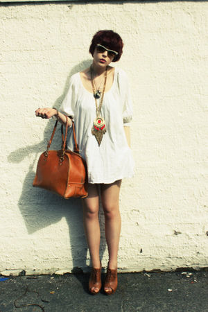 white H&M dress - brown Kate Moss for Topshop bag - beige Ray Ban sunglasses