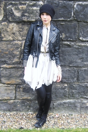 white principle dress - black vintage jacket - black Primark top