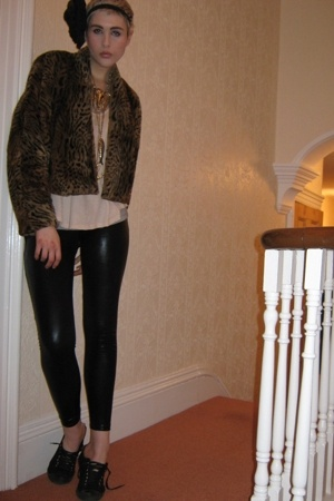 pink Topshop top - black army shop shoes - brown Ebay coat
