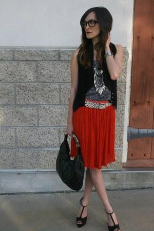 YSL purse - brian atwood heels - olive olivia skirt - Club Monaco top - Club Mon
